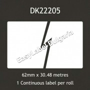 Labels BROTHER DK-22205, 62mm x 30.48m (съвместими), with frame