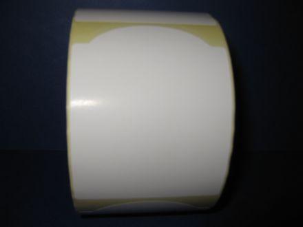 Самозлепващи етикети на ролка за допечатване, бели от хартия, 68mm x 88mm /1/ 800, Ø40mm, неправилна форма