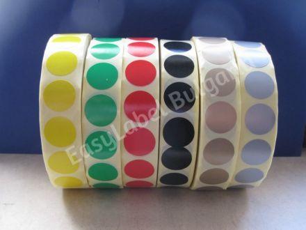 Кръгли цветни самозалепващи се етикети на ролка, 6 цвята, Ф19mm, 12 000бр. в ролка