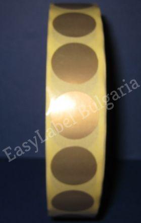 Кръгли цветни самозалепващи се етикети на ролка, златен бронз, Ф19mm, 3 000бр. в ролка