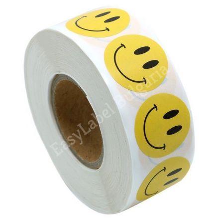 Кръгли етикети с УСМИВКИ, жълти с черен надпис, Ø19mm, 500бр.