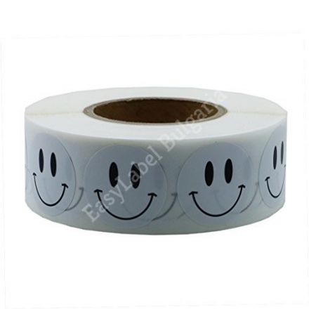 Smiley Face Happy Stickers 20mm Round Circle Teacher Labels White, 500