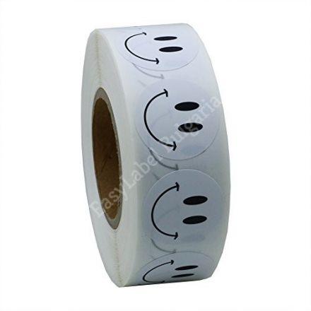 Кръгли етикети с УСМИВКИ, бели с черен надпис, Ø20mm, 500бр.