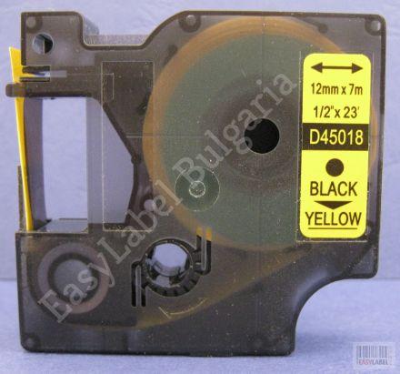 10 x Съвместима лента Dymo D1 45018, S0720580, 12mm х 7m, черно върху жълто