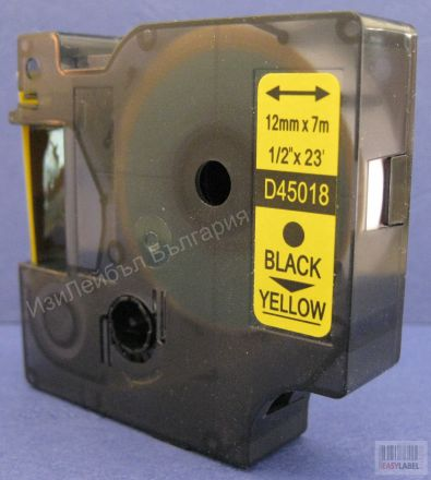 100 x Съвместима лента Dymo D1 45018, S0720580, 12mm х 7m, черно върху жълто