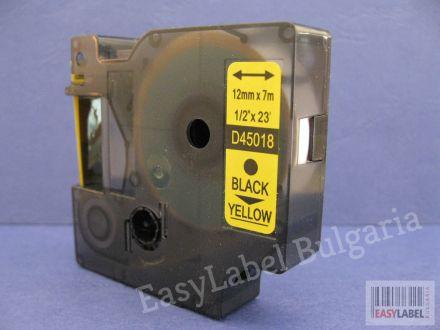 40 x Съвместима лента Dymo D1 45018, S0720580, 12mm х 7m, черно върху жълто