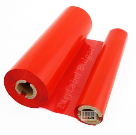 Червена термотрансферна лента, WAX, 75mm x 74m