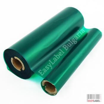 Термотрансферна лента, Eco WAX, Зелена, 75mm x 74m
