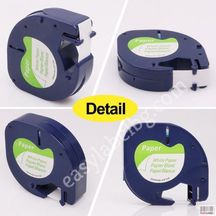 Compatible DYMO LetraTag 91200, Paper Tape, 12mm x 4m, white