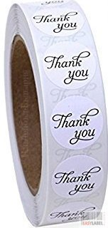 Round Gold Paper Thank You Sticker Labels in Script/Calligraphy Print, 500 Labels per Roll, 20mm diameter