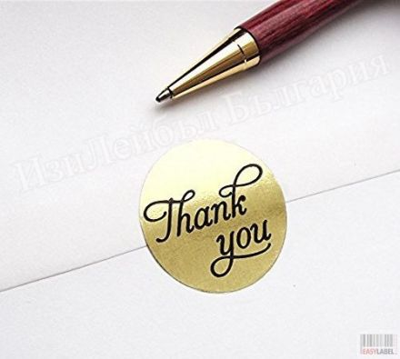 Round Gold Paper Thank You Sticker Labels in Script/Calligraphy Print, 500 Labels per Roll, 19mm diameter