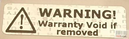 "Универсален напечатан защитен гарaнционен етикет ""WARNING! Warranty VOID if removed"" - холограм silver VOID, 32mm x 10mm, сребрист"