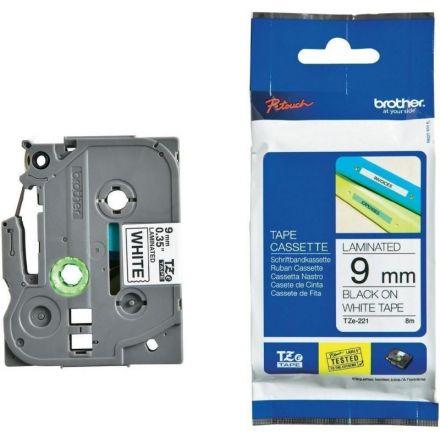 Оригинален TZe Tape 9mm Brother TZ-221 Black on White Laminated