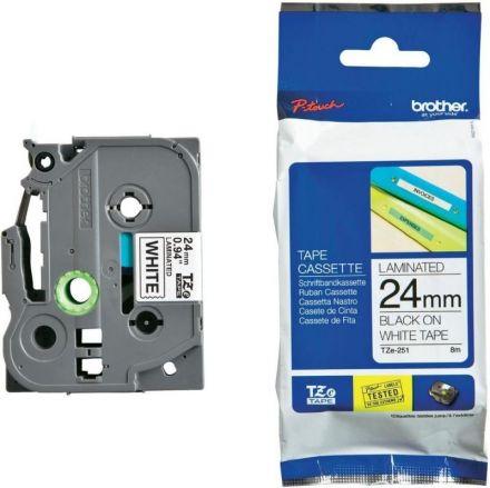 Оригинален TZ Tape 18mm Brother TZe-241 Black on White Laminated