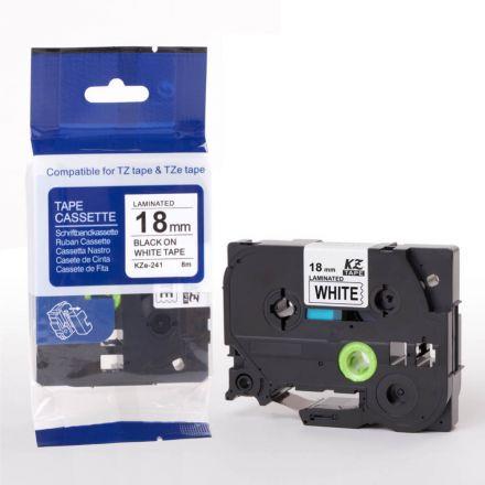 Съвместим Brother TZe-241 Tape Black on White Laminated 18mm