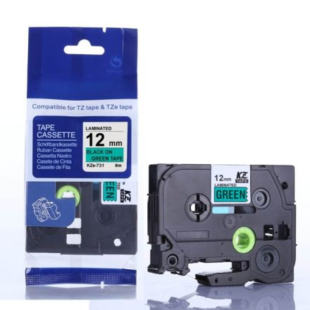 Съвместим Brother TZe-731 Tape Black on Green Laminated 12mm