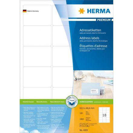 Самозалепващи етикети Herma, 64.6 х 33.8mm, 100л., (2400бр.)