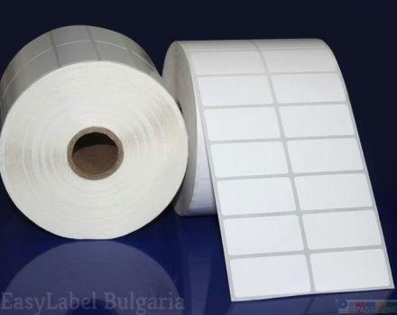 Бели хартиени самозлепващи етикети на ролка за допечатване, 40mm x 22,5mm /2/4 500, Ø40mm