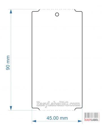 Водоустойчиви несамозалепващи бели PVC етикети, 45mm x 90mm, 1 000бр.