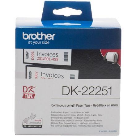 Непрекъсната бяла хартиена лента Brother черен и червен цвят на бял фон DK-22251, 62mm x 15.24m