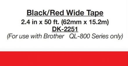 Brother DK-22205 White Continuous Paper Roll 62mm x 15.24m, Two Colour - Black/Red