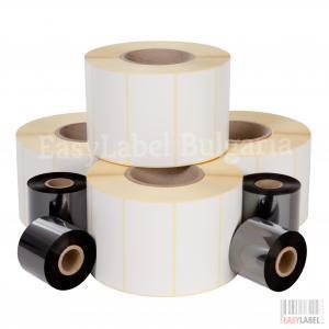Комплект - 75 000 самозлепващи етикети на ролка за допечатване, бели от хартия, 35mm х 26mm и термолента 115mm x 360m
