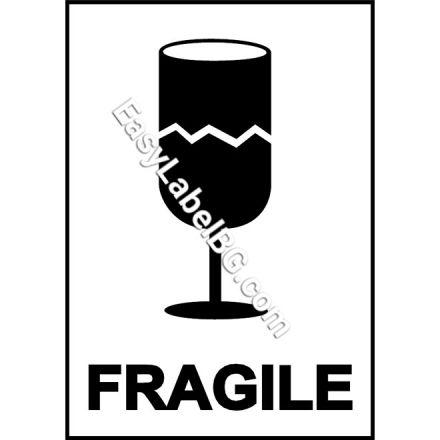 """Водоустойчиви PVC етикети """"FRAGILE"""", 100mm x 70mm, 50бр."""