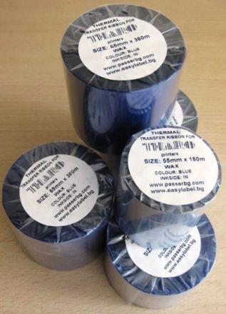 """Термотрансферна лента, восъчна - WAX, 65mm X 360m, шпула ф(1"""")25,4mm, IN, синя"""