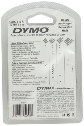 DYMO 91200 - Хартиена  лента 12mm X 4m, бяла