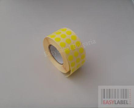 Цветни кръгли стикери за ОТК контрол - самозалепващи етикети на ролка, диаметър 10mm, 12 000 бр., жълти, зелени, червени, оранжеви