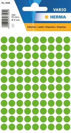 Цветни кръгли стикери за ОТК контрол - самозалепващи етикети, диаметър 8mm, 540 бр., неонови цветове-жълти, зелени, червени, оранжеви